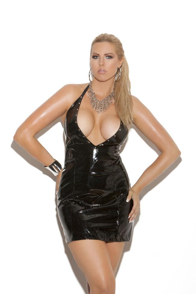 Deep V Vinyl Halter Dress w Nail Heads Plus & Reg Größe Adult Woman Clothing