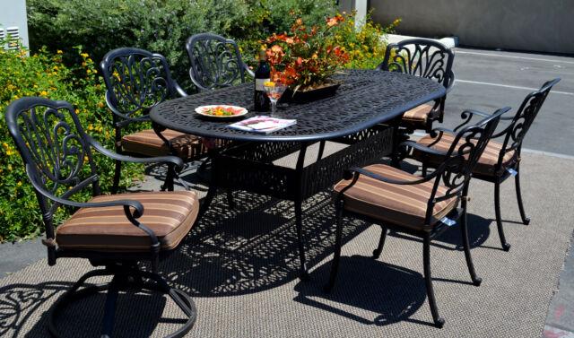 Patio dining set 7pc Elisabeth Cast Aluminum oval table outdoor Desert Bronze