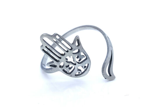 WOMEN/'S RING BAND STAINLESS STEEL 316L  ADJUSTABLE FATIMA/'S HAND SILVER TONE