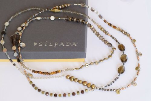 "Silpada ""Harvest"" Long 54"" Pearl Quartz Sterling Silver Brass Necklace N3108"