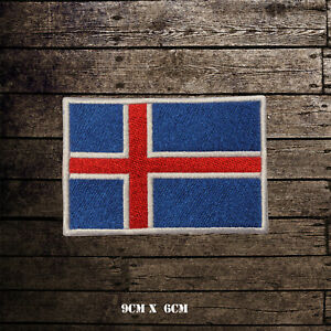 ICELAND-Flag-Embroidered-Iron-On-Sew-On-Patch-Badge-For-Clothes-Etc