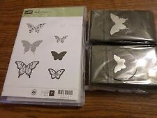 STAMPIN UP PAPILLON POTPOURRI 7 PC STAMP SET & 2 BUTTERFLY PUNCHES-ELEGANT&BITTY