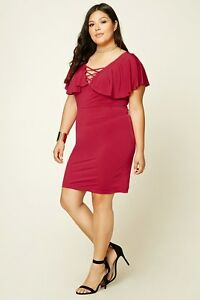 Forever-21-Plus-Size-Red-Flounced-Lace-Up-Dress-1X-2X-3X