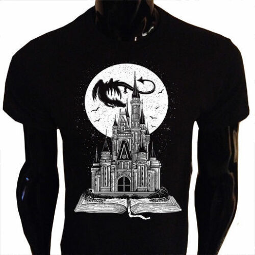 Fairy Tail Book T-Shirt Mens Fantasy Story Dragon Castle Moon Stars