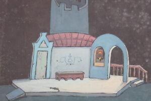 Vintage-gouache-painting-theatre-scene-design-signed