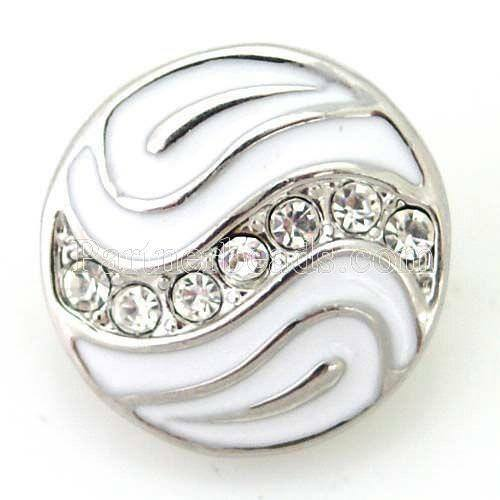 Noosa Chunks Ginger Style Snap Button Charms White Rhinestone Waves 20mm