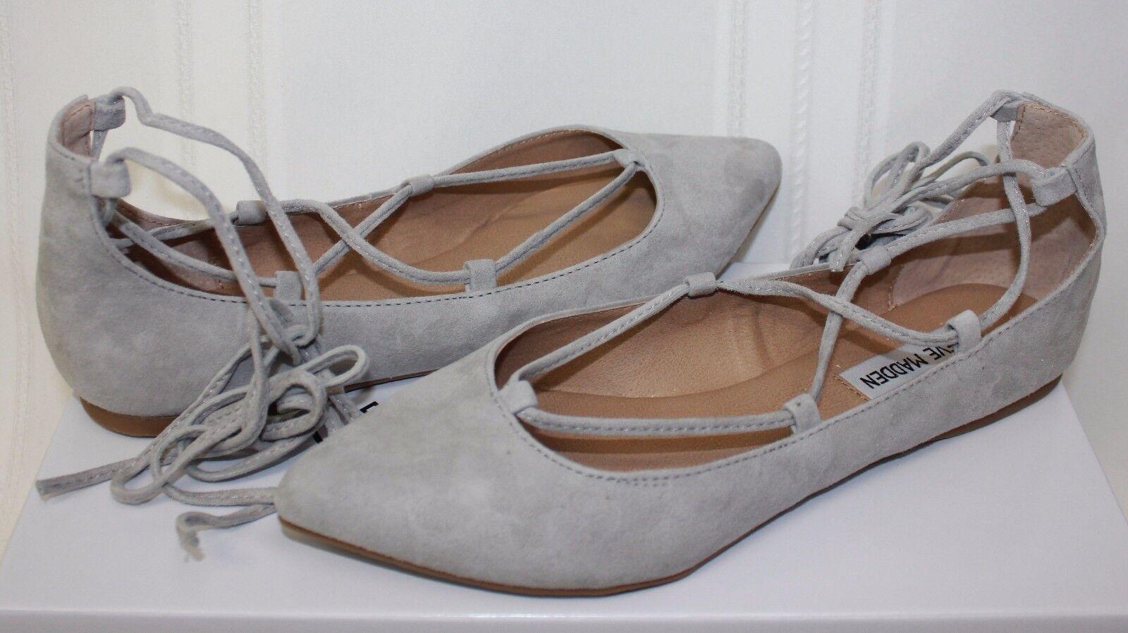 Steve Madden Women's Eleanorr Eleanor ballet flats Light Grey Suede New With Box