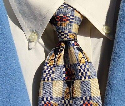 Ermenegildo Zegna Gentleman's Gold & Blue Grey Silk Necktie - Italy - $195.00