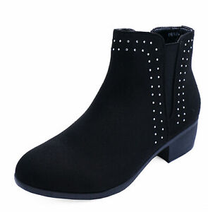 LADIES-WOMENS-LOW-BLOCK-HEEL-ANKLE-STUDDED-DIAMANTE-CHELSEA-BOOTS-SHOES-SIZE-3-8