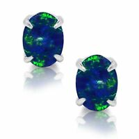 Oval Cut Australian Dark Blue Fire Opal Genuine Sterling Silver Stud Earrings