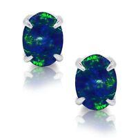 Oval Cut Australian Dark Blue Fire Opal Genuine Sterling Silver Stud Earrings