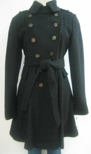 Guess Belted Wool Coat, Jacket, Black, Medium, Mh4