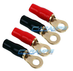 SET OF (4) 8 GAUGE AWG GOLD PLATED RING TERMINALS CAR STEREO POWER & GROUND 8G
