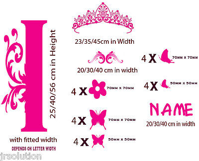 Custom Name Monogram Princess Crown Nursery Girls Vinyl Stickers Wall Art Decal