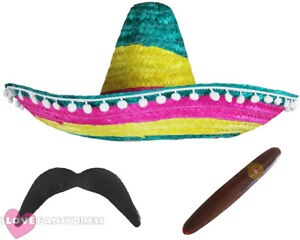 ad44e537bfb Image is loading MULTI-COLOURED-MEXICAN-SOMBRERO-HAT-ADD-MOUSTACHE-CIGAR-