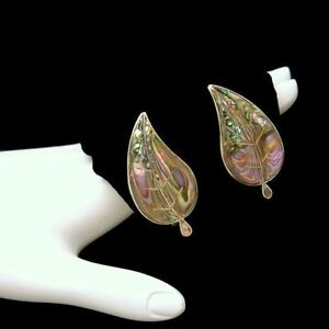 TAXCO-MEXICO-Vintage-Sterling-Silver-Abalone-Large-Statement-Earrings