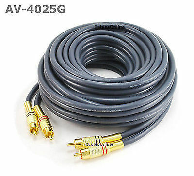 25ft 2-RCA to 2-RCA Gold-Plated Male to Male DJ/Mixer/Stereo System Audio Cable
