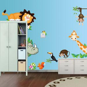 Wandtattoo Sticker Tiere Wandbild Nashorn Giraffe Kinderzimmer Baby ...