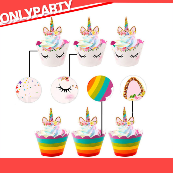 24pcs//set Rainbow Unicorn Cupcake Wrapper Cake Topper Kids Birthday Cake Decor