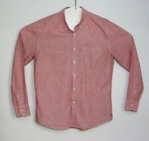 Industrie-Men-039-s-Long-Sleeve-Button-Up-Pink-Shirt-Size-L
