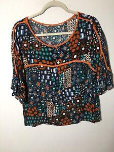 gorman-monika-forsberg-Womens-Star-Parade-Floral-Blouse-Top-Size-12-Short-Sleeve