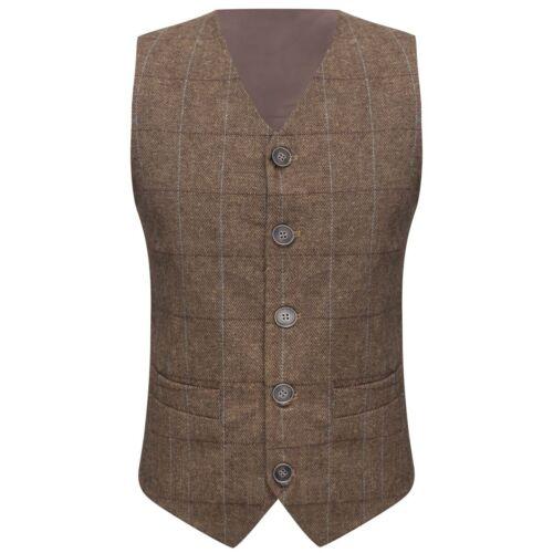 LUSSO Tweed a Spina Di Pesce Marrone Gilet vestibilità su misura