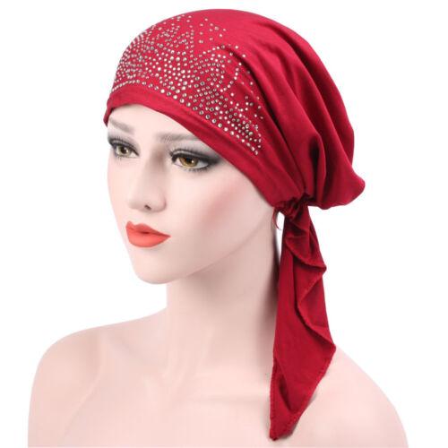 Turban Hüte für Damen elegante Strass Hut Slouchy Mützen Baggy Headwrap Kappe