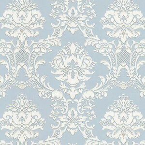 Image Is Loading Victorian Vintage Damask Silvery Blue White Creme Bronze
