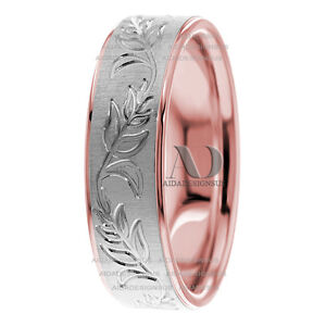 14k White Rose Gold Floral Hand Engraved 7mm Men Women Wedding