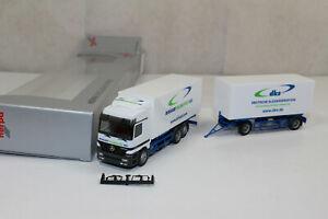 ht636, RAR Herpa MB Actros Birkart Globistics dks Wechselkoffer Werbemodell