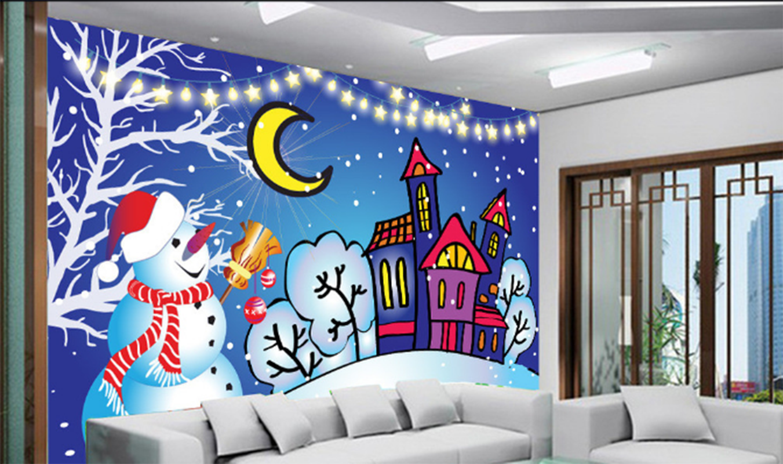 3D Winter Schneemann 7885 Tapete Wandgemälde Tapeten Bild Familie DE Summer