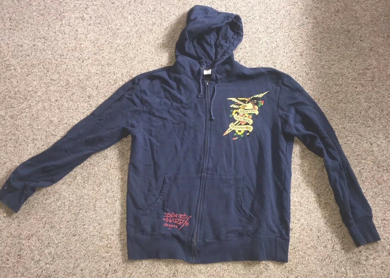 Don Ed Hardy Navy bluee Zip Up Hoodie Mens Size Large