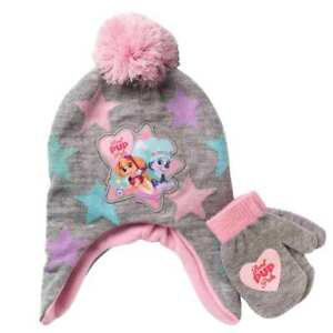 7b8aecf6f3ff4 Paw Patrol Toddler Girls Gray Best Pup Trapper Hat   Mittens Beanie ...