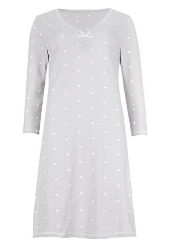 Ex M/&S Womens Short Nightdress Nightie With Long Sleeve COOL COMFORT  Size 8-22
