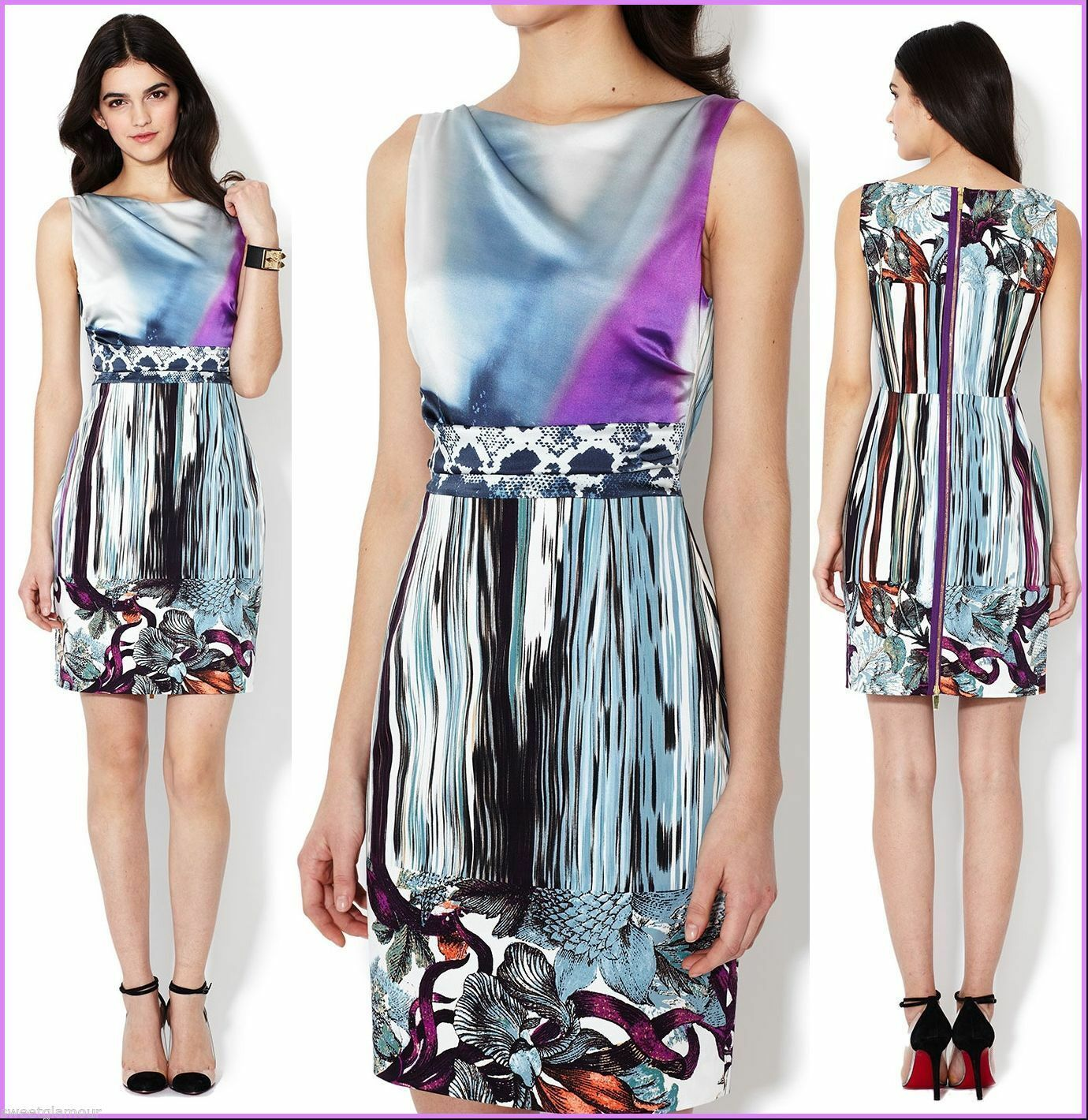 Elie Tahari Avery Cyan Spa Print Stretch Cotton Silk Shift Dress 10
