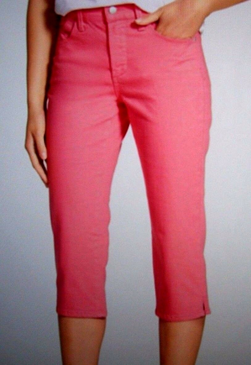 NEW NYDJ Not Your Daughters Jeans Bella crop capri pants pink petal size 10