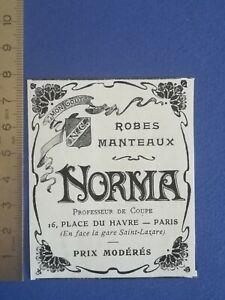 PUB-ANCIENNE-ADVERT-CLIPPING-1904-Robes-manteaux-Tailleur-Norma-Paris