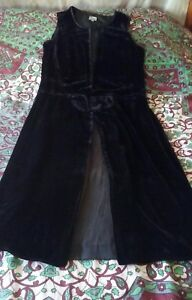12 'wintry Noa Style Dress L 1920s Black Velour' 7pnZB0