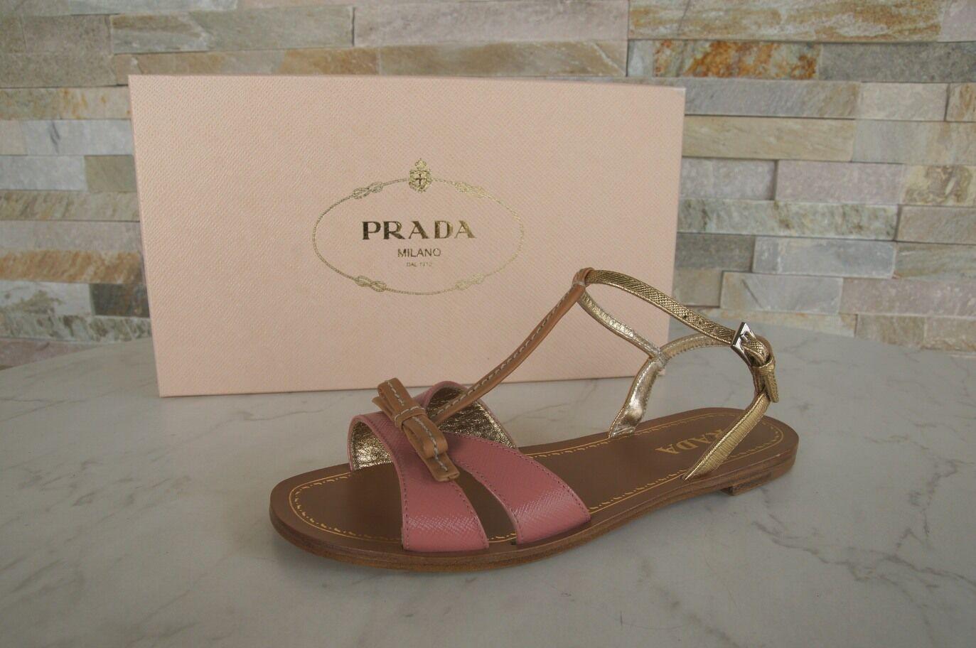 PRADA Gr 36 T-Strap Sandalen Sandales braun Schuhe schuhe rosa + braun Sandales NEU 2ac357