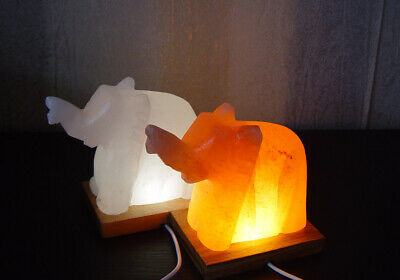 Sporting 2x Salt Light Orange & White Animal Shape Elephant Usb Therapeutic Himalayan Speciale Zomerverkoop