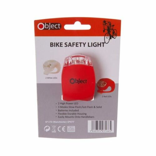 Object SP077-RED Bike /& Scooter Safety Light Red Micro LED Solid Fast Slow Ash