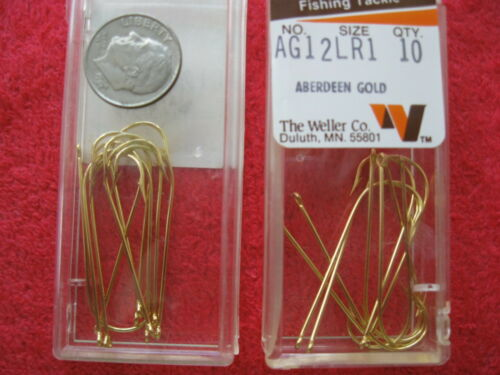 NOS 120 VINTAGE WELLER ABERDEEN GOLD SIZE 1 FISHING HOOKS 12 PACKS OF 10