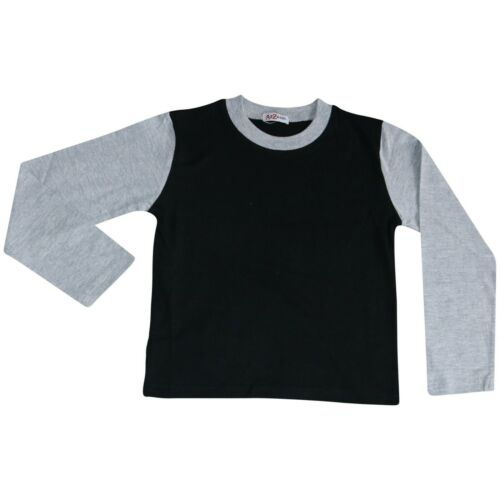 Kids Girls Boys Pjs Contrast Grey Color Plain Stylish Pyjamas Set Age 2-13 Year