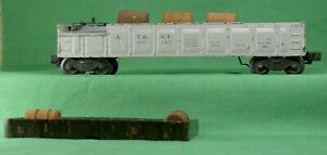 O-Scale-Vintage-Lionel-Barrel-Unloading-Car-with-Barrels-amp-Bin