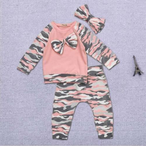 UK 3pcs Newborn Baby Boys Girl Tops Tops Pants Outfits Set Clothes Set Style