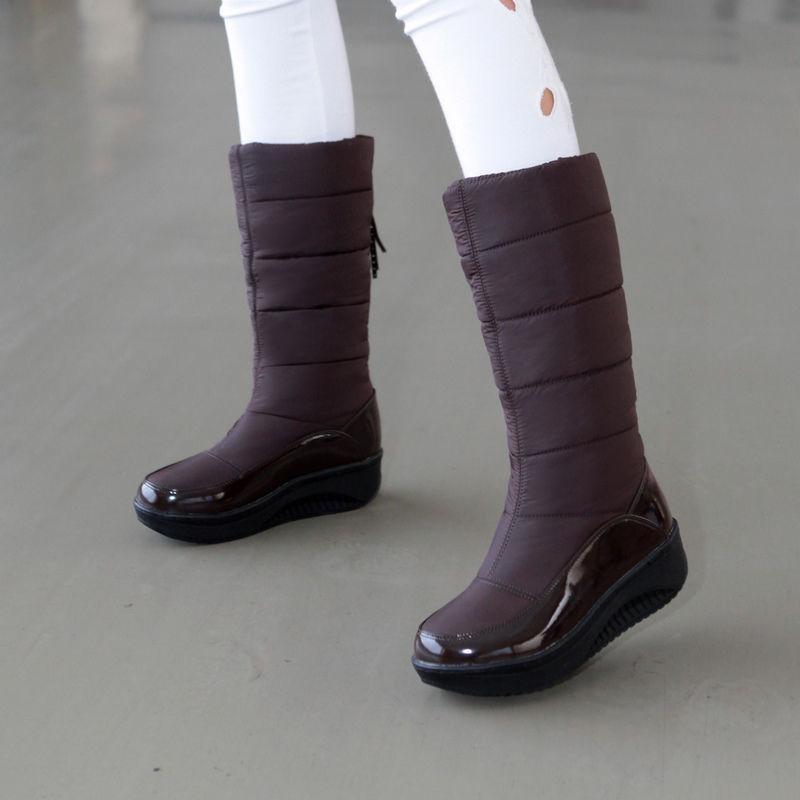 Warm Mid Calf Fur Lining Boots Platform New Winter Women's Ski Snow Boot shoes