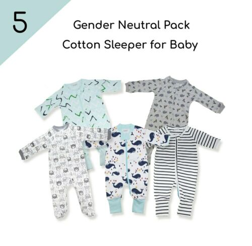 KaWaii Baby 5//Pack Cotton Bodysuit Sleepers Long Sleeves Zippered Value Pack