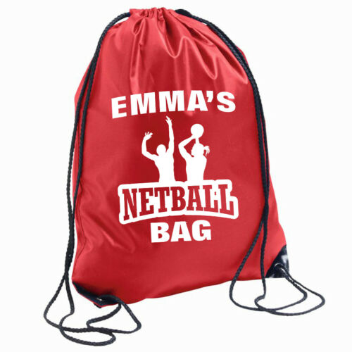 Personalised Netball Bag Drawstring Backpack Gymsac PE School Name of choice