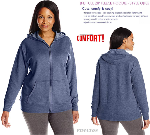 862a0cd7 Just My Size Women's Plus-size Full Zip Fleece Hoodie Navy Heather Regular  5x