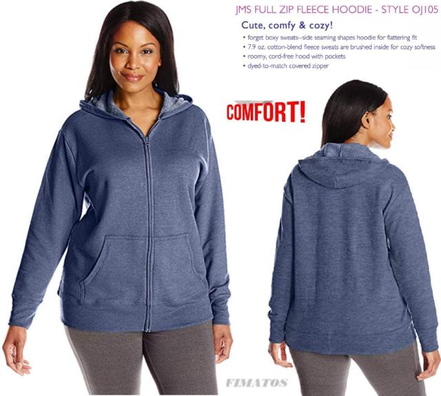 Just My Size Slub-Cotton Full-Zip Women/'s Hoodie 3X
